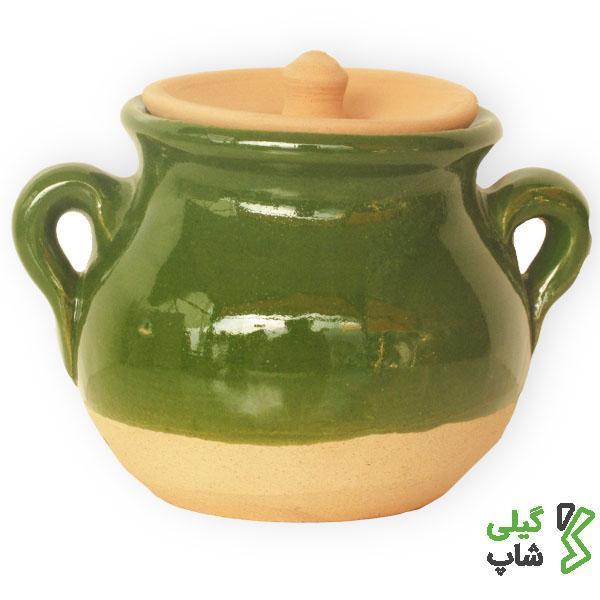 دیزی خوری سفالی لعاب دار (رنگ: سبز)
