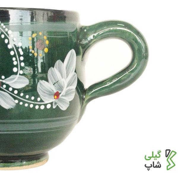 لیوان سفالی طرح دار (رنگ: سبز)