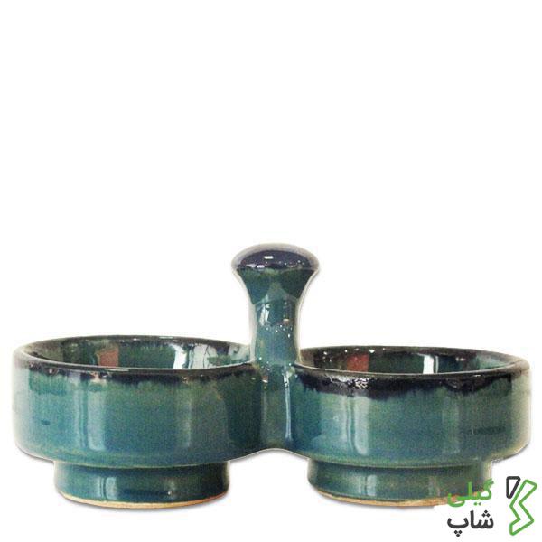 نمکدان سفالی (رنگ: آبی فیروزه ای)