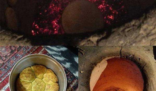 آموزش پخت نان محلی درون تنور سفالی