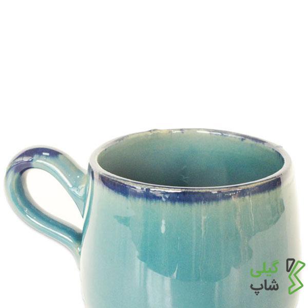 لیوان سفالی ساده (رنگ: آبی فیروزه ای)