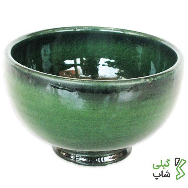 کاسه و پیاله سفالی ساده و لعاب دار (رنگ: سبز)