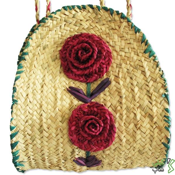 زنبیل حصیری (طرح : گل آفتابگردان) از جلو