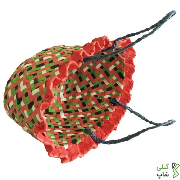 زنبیل پلاستیکی تسمه ای بسیار زیبا (رنگ: قرمز)