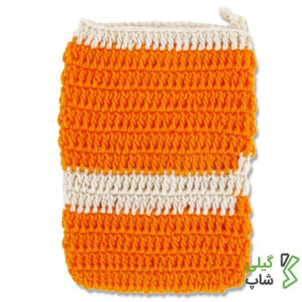 لیف بافتنی نارنجی و سفید
