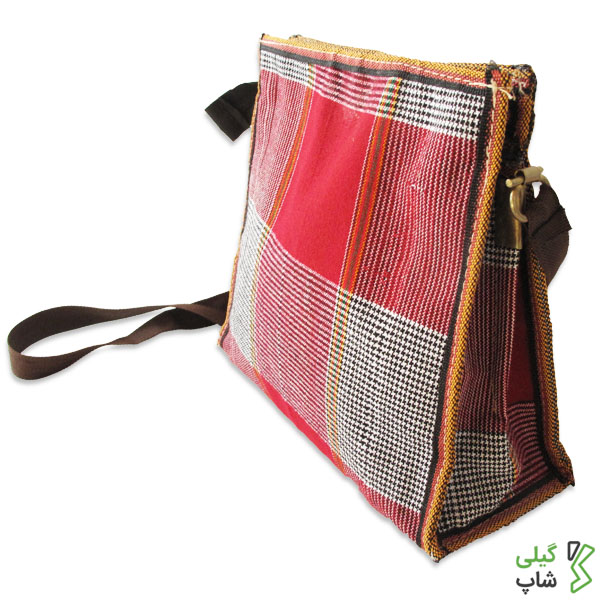 کیف دوشی گلدانی زنانه (سایز : کوچک) | طرح چهارخانه