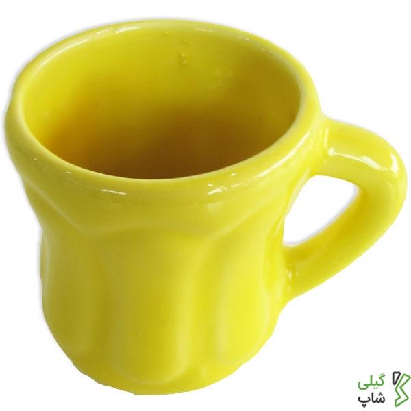 لیوان سفالی ساده (رنگ: زرد)