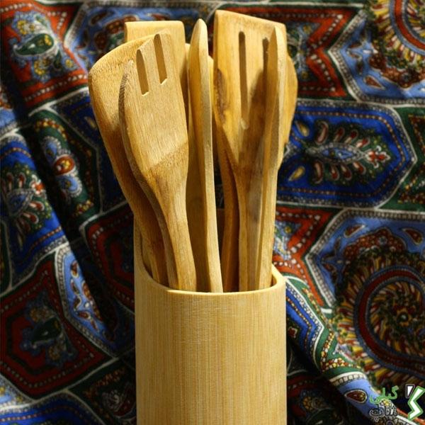 ست ملاقه و کف گیر چوبی