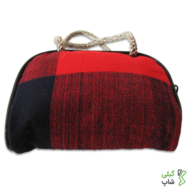 کیف پول دست دوز چهارخانه | (رنگ: قرمز)