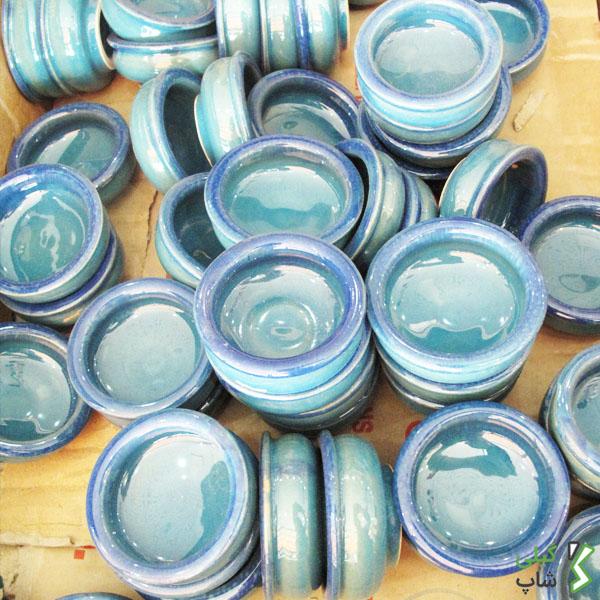 نمکدان سفالی تک خانه | رنگ: آبی فیروزه ای
