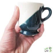 لیوان سبز آبی دو تیکه ساده سفالی