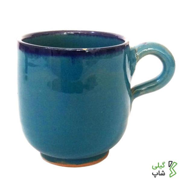 لیوان آبی فیروزه ای رنگ سفالی ساده