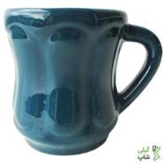 لیوان سبز آبی ساده سفالی