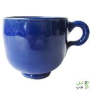 لیوان آبی رنگ سفالی ساده