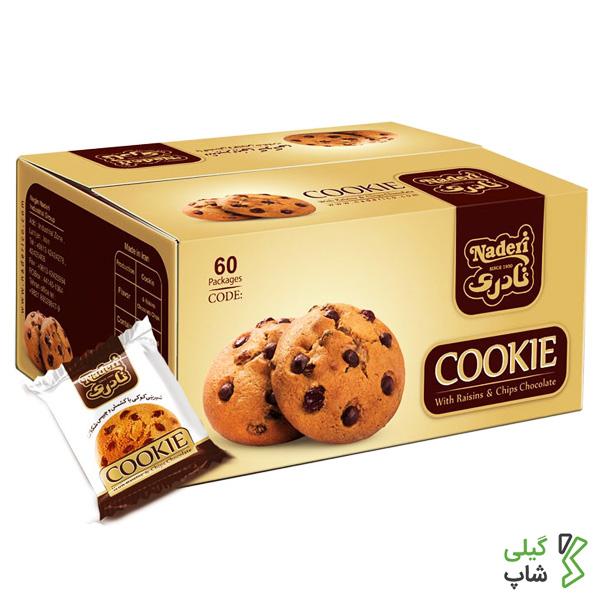 شیرینی کوکی با کشمش و چیپس شکلات نادری | 60 عددی
